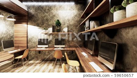 Office studio loft style interior design 59650657