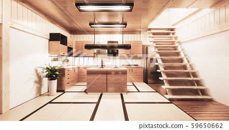 Kitchen room japanese style.3D rendering 59650662