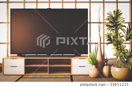 Old style, Mock up smart Tv on wooden cabinet 59651235