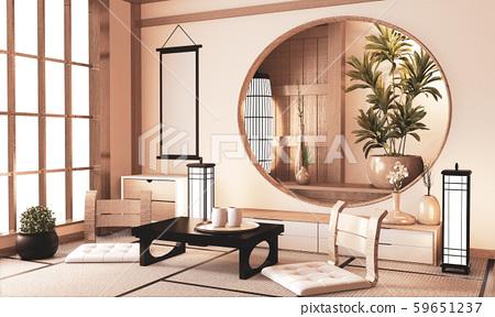 Ryokan very zen room with wall wooden shelf design 59651237