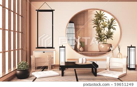Ryokan very zen room with wall wooden shelf design 59651249