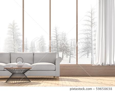 Winter living room 3d render 59658638