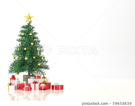 Christmas tree on white background 3d render 59658639