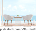 Close up of white chair with blurry sea view background 3d render 59658640