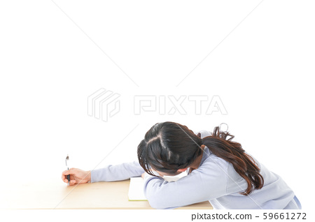 Young female student who supports studying 59661272