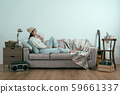 lady lying on couch and pensive thinking solution 59661337