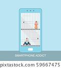 Smart phone prisoner and addiction concept. 59667475
