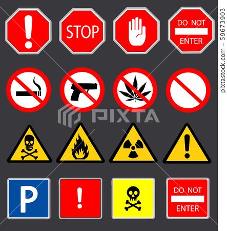 Road signs and Triangular Warning Hazard Signs 59673903