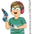 Kid Boy Hold Hand Drill Illustration 59675607