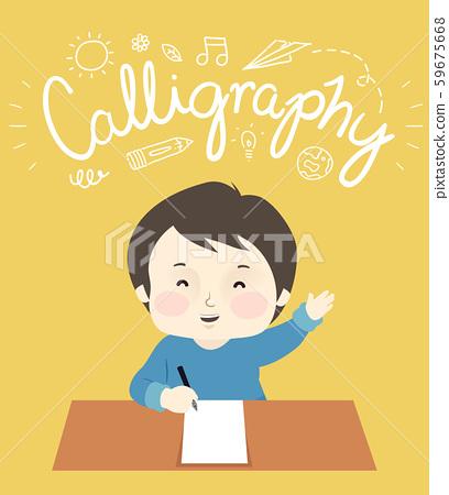 Kid Boy Write Calligraphy Lettering Illustration 59675668