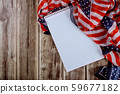 Notebook on wood table beautifully waving star and 59677182