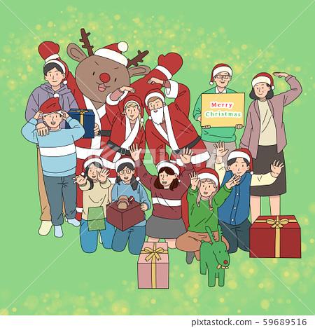 일러스트,크리스마스,가족,산타 59689516