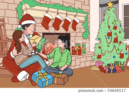 일러스트,크리스마스,가족,산타 59689517