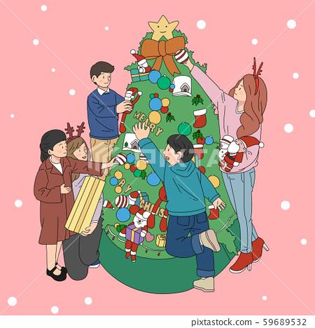 일러스트,크리스마스,가족 59689532