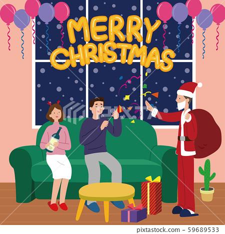 일러스트,캘리그라피,크리스마스,산타,부부 59689533