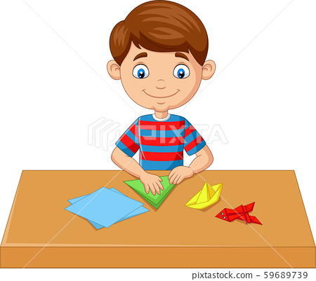 Little boy folding paper and making origami toys 59689739