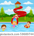 Children playing in water park 59689744