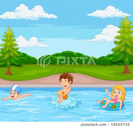Kids playing in swimming pool 59689748