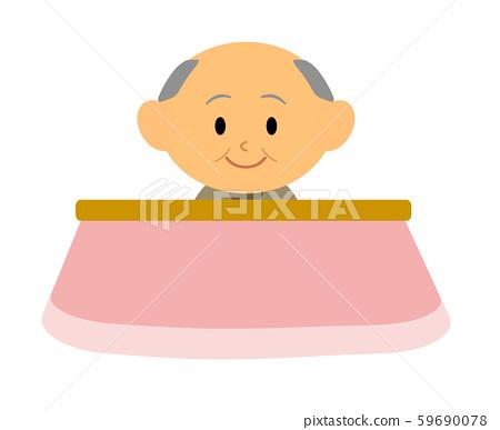 Grandfather relaxing with a kotatsu 59690078