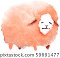 Watercolor illustration sheep feeling loose 59691477