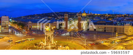 Barcelona Spain, aerial view panorama city skyline at Barcelona Espanya Square 59693597
