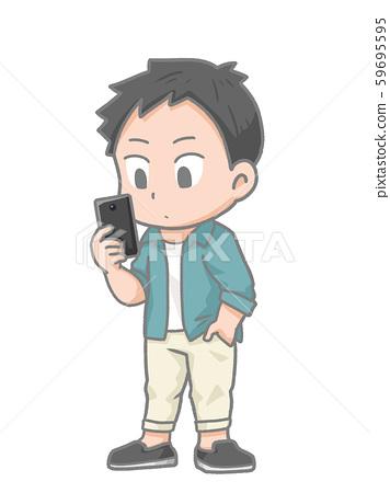 一個人看著智能手機的插圖 59695595