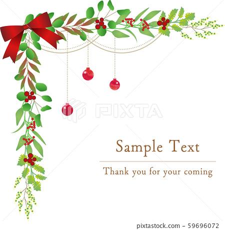 植物插圖框架植物年末和新年框架聖誕節 59696072