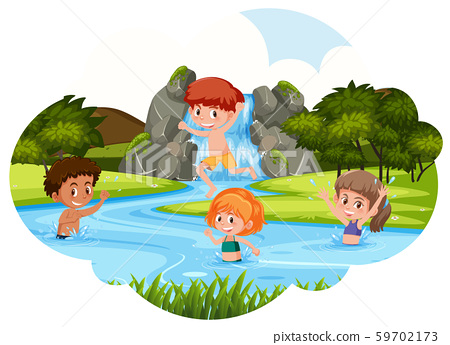 Children playing in river 59702173