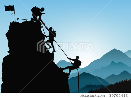 Silhouette of three men climbing mountain by helping each other on blue mountains background 59702418