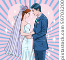 Men and Women Get married Bride and groom wear wedding dresses Men and women standing and holding hands Illustration vector On pop art comics style Abstract background 59703200