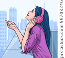 Beautiful girl looking forward Women listen to music from headphones Illustration vector On pop art comic style Colorful city background 59703246