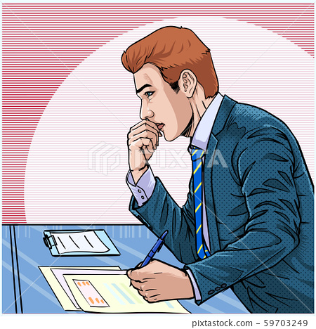 The man in the suit was staring at the computer screen Young business men are stressed at work Illustration vector On pop art comics style Abstract dot colorful background 59703249
