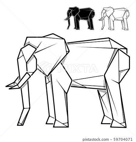 Image of paper elephant origami (contour drawing). 59704071