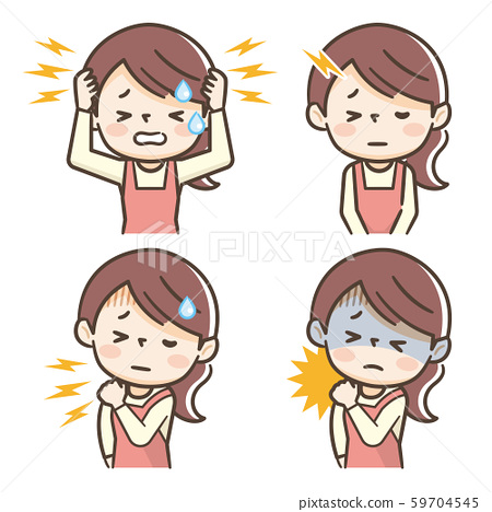頭痛僵硬肩膀家庭主婦女人 59704545