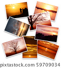 collage of sunset images in white background 59709034