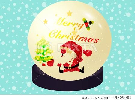 Christmas snow ball and text Merry Christmas 59709089