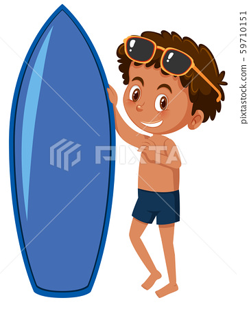 A young surfer on white background 59710151