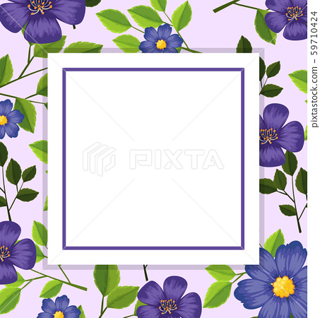 Purple flower card template 59710424