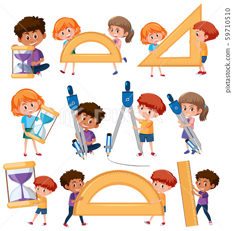 Set of children holding math tools 59710510