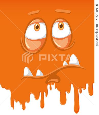 Face of sad orange monster 59710916