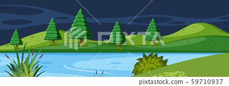 Lake landscape at night 59710937