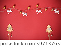 Greeting card concept with Christmas trees, lights and reindeer 59713765