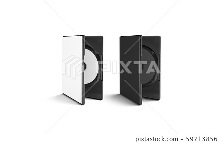 Blank black and white dvd disk in plastic case 59713856