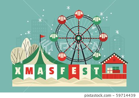 Xmas fest amusement park vector poster 59714439