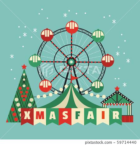 Xmas fest amusement park vector poster 59714440
