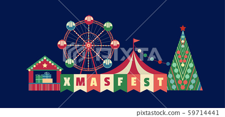 Christmas Fest Fun flat color vector poster 59714441