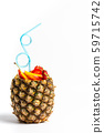Fruit salad and juice in a pineapple shell 59715742