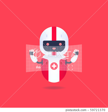 Medical friendly android robot with HUD interface screen. Cute and smile AI robot. 59721370