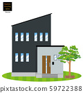 Single-family house, single-family house illustration (two stories), planting, lawn background_my home, wooden house_vector data 59722388