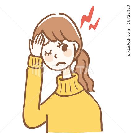 頭痛的女人上半身 59722823
